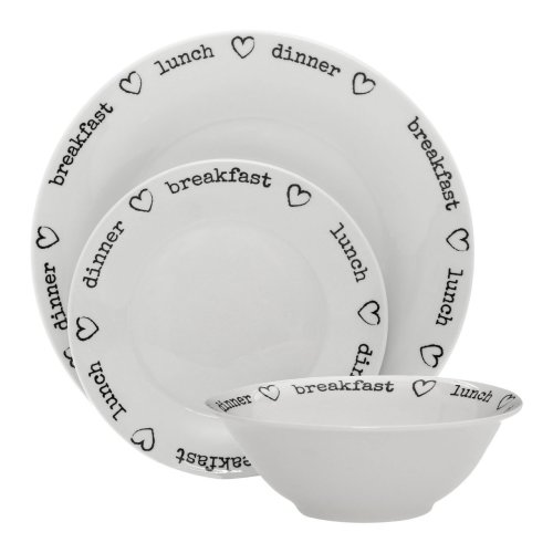 12Pc Charm Dinner Set, White Porcelain
