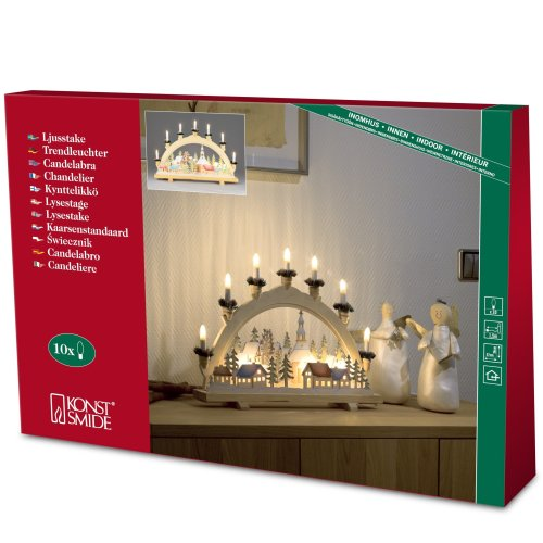 Konstsmide Candlestick 10 Light Welcome Light with Village Motif - Clear