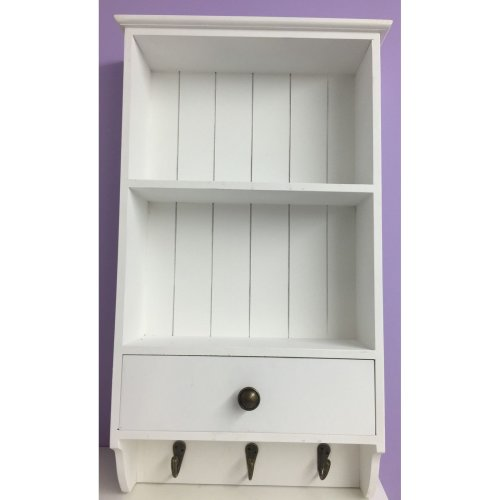 White Wooden Shelf Unit With Drawer & 3 Hooks Display Rack Cupboard
