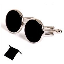 Classic Onyx Black Cufflinks with Velvet Pouch
