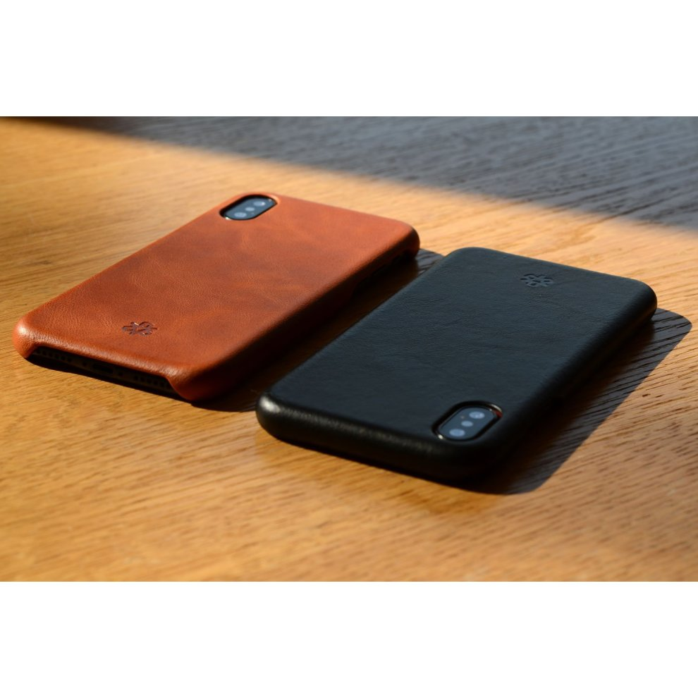 85b0c3b9895 ... NOVADA Leather iPhone X Case Genuine Leather Back Cover - Black - 5.