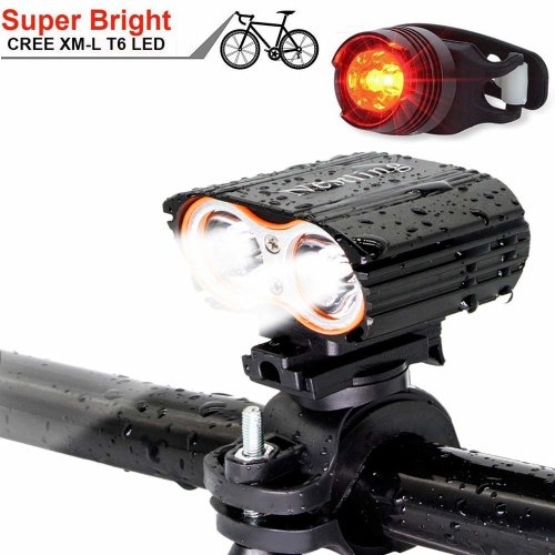 QITAO® USB-rechargeable Bike Front Light, Waterproof, Super Bright 2400LM Bicycle LED Light &Tail Light Set Easy to Install Cycling Safety...