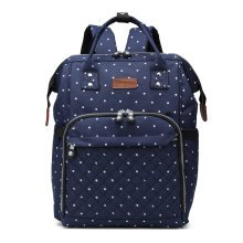 (Navy Polka Dots) KONO Nappy Changing Backpack | Baby Change Backpack