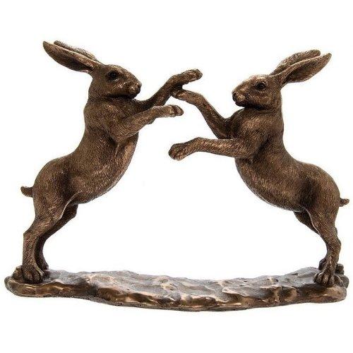 Twin Boxing Hares Leonardo Bronze Effect Ornament Figurine Collection