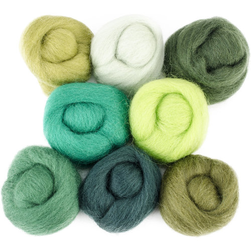"Wistyria Editions Wool Roving 12"" .25oz 8/Pkg-Jungle"