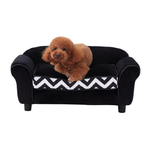 PawHut Pet Couch Dog Cat Wooden Sofa Bed Lounge Luxury w/Cushion (Black)