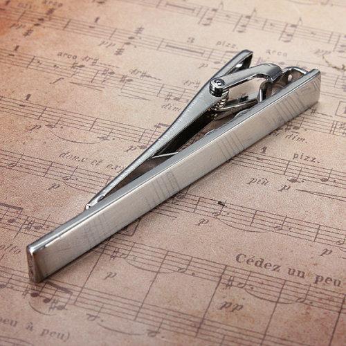 Men Metal Silver Tone Simple Practical Necktie Tie Bar Clasp Clip