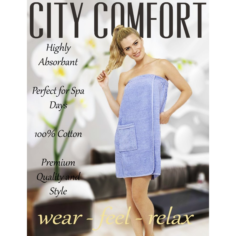 1652906fe5 ... CityComfort Towel Wrap for Women 100% Cotton Highly Absorbent Terry  Soft Sarong Towel Shower Spa ...
