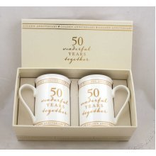 50th Golden Wedding Anniversary pair of Mugs Gift Set WG673
