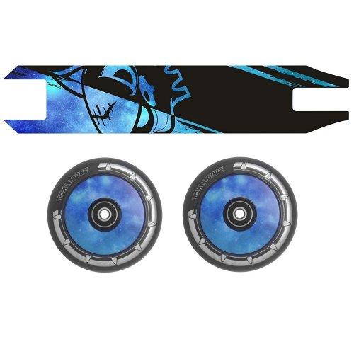 Combo Pair Team Dogz Blue Galaxy Scooter Wheels 120mm Hollow Core + Grip Tape