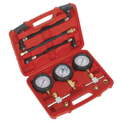 Sealey MS100 3pc Motorcycle Compression & Fuel Pressure Gauge Set