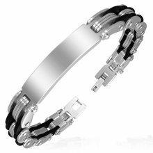 Urban Male Stainless Steel & Rubber Modern Link ID Plate Bracelet