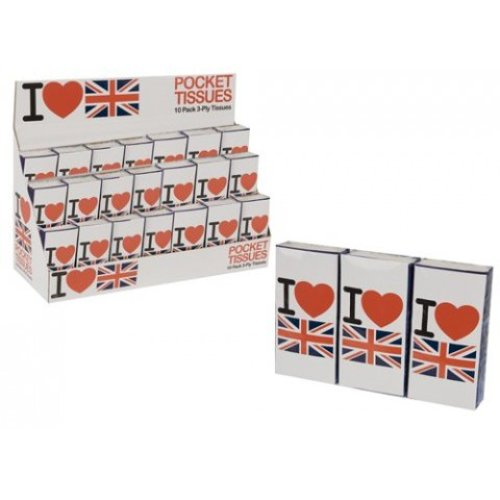Pack Of 10 I Love Uk Pocket Tissues - Union Jack British Flag Patriotic Gift -  pack 10 i love uk pocket tissues union jack british flag patriotic