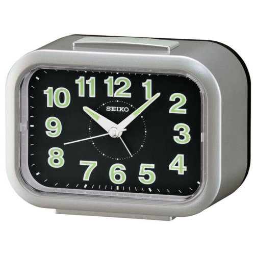 Seiko Quiet Sweep Second Hand LumiBrite Bell Alarm Clock│Silver│