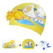 Ship Pattern Childern Scuba Diving Free Diving Goggles & Swimming Cap, Yellow