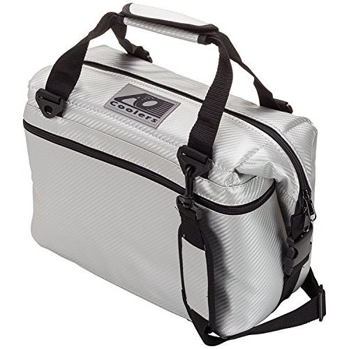 AO Coolers Carbon Soft Cooler with High Density Insulation Silver 48 Can