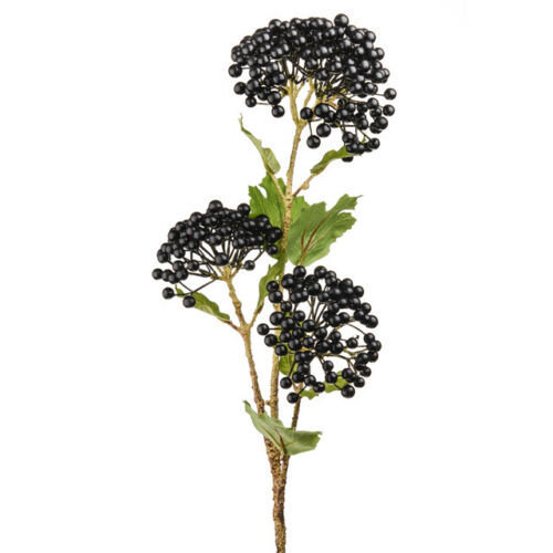 Artificial Black Viburnum Berry Spray - 66cm - Purple / Black Faux Flowers