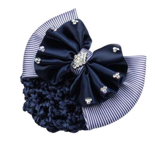 Beautiful Snood Net Hairnet Hair Clip Bun Cover Bow Barrette Girls Hairdressing, B