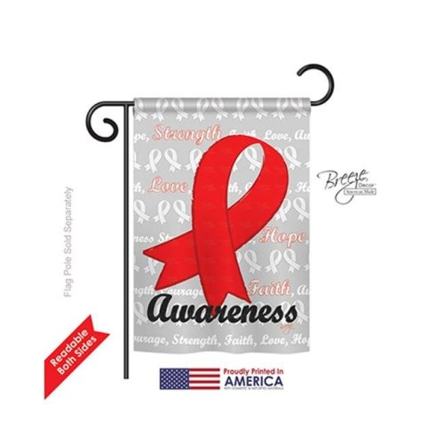 Breeze Decor 65081 Red Ribbon 2-Sided Impression Garden Flag - 13 x 18.5 in.