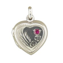 Sterling Silver Engraved Heart With Red Stone Locket On A Snake Necklace