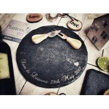 Personalised Medium Round Slate Cheeseboard - 25cm