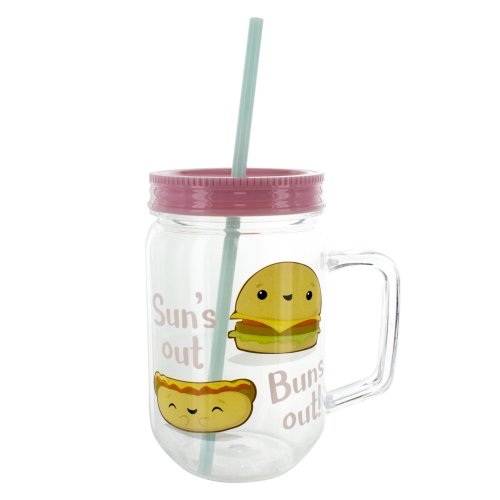 """Paladone My Kawaii Cute """"Suns Out Buns Out"""" Tumbler Cup and Straw"""