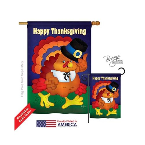 Breeze Decor 13037 Thanksgiving Happy Thanksgiving Turkey 2-Sided Vertical Impression House Flag - 28 x 40 in.