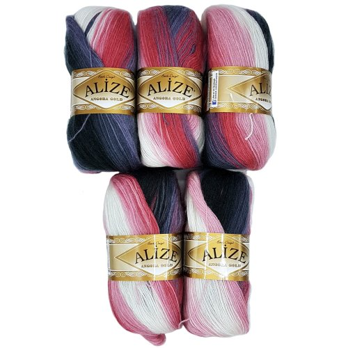 5 x 1602 500 Gram Alize Knitting Yarn 100 g Gradient Grey Berry Pink White Scarf with Mohair