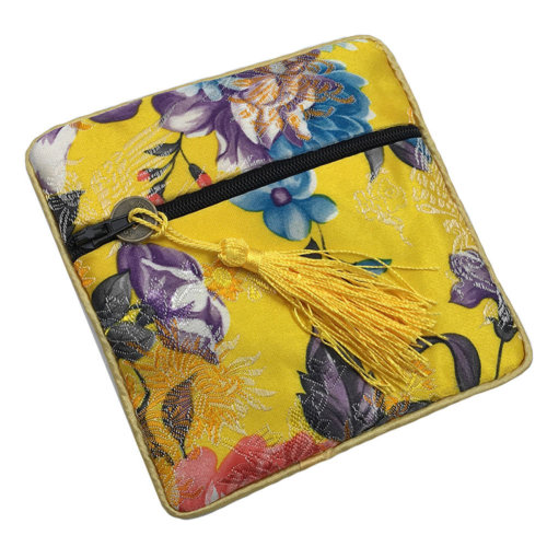 2PCS Chinese Embroidery Purse Jewelry Coins Pouch Bag Stylish Gift, Yellow