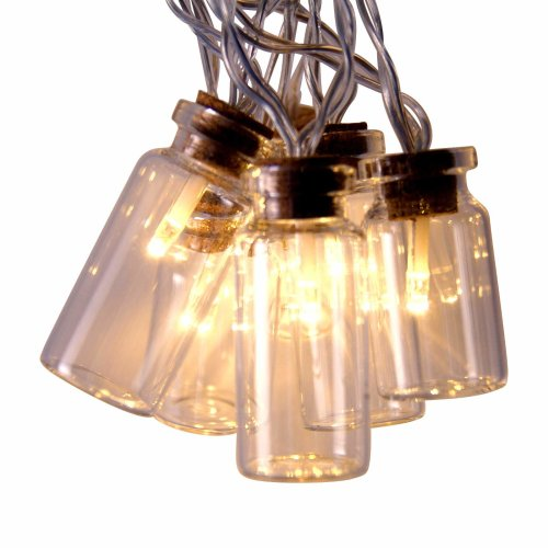 Qbis Retro/Vintage Glass Jar LED Fairy Lights with warm white LEDs. 16 Lights (static). Battery operated with on/off/timer modes (Clear Jar)