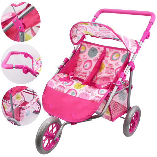 3 Wheel Twin Dolls Stroller with Storage Basket and Adjustable Handle