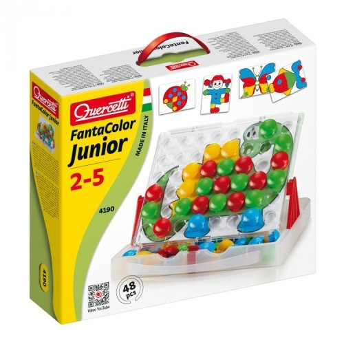 Quercetti FantaColor Junior 48 Piece Buttons Make Colourful Button Mosaics Includes Pattern Cards Ages 2-5 Years
