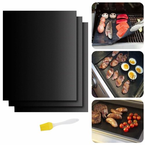 HJHY 100% Non- Stick Grill Mat Barbecue Miracle Grill Mat 3 Sets 12.99x16 inch -Works On ANY Grill