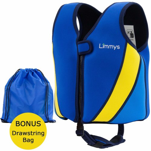 Limmys Premium Neoprene Swim Vest for Children, Ideal Buoyancy Swimming Aid for Boys and Girls, Bonus Drawstring Bag Included, 2 Bonus eBooks