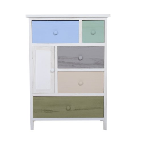 Homcom Multicoloured Chest of Drawers | 5 Drawer & 1 Door Cabinet