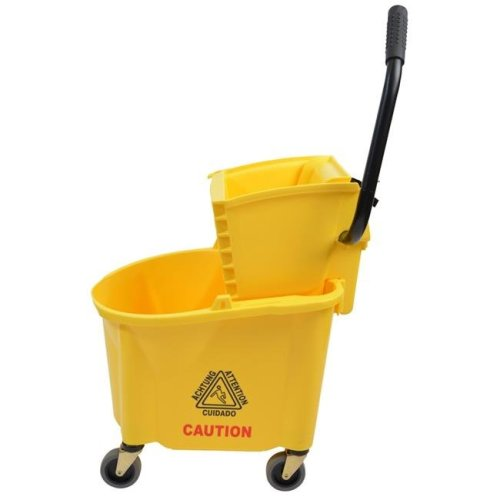 Janico 1026YWE CPC Mop Bucket with Side Press Wringer - Yellow