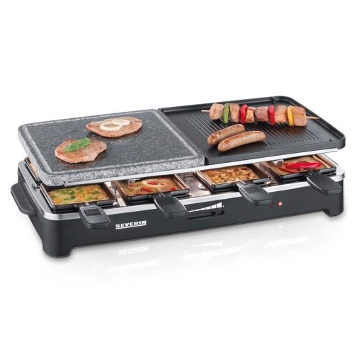 Severin RG2341 Raclette Party Cooking Grill with Natural Grill Stone, 8 Mini Pans Blac