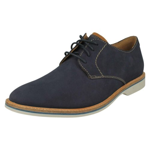 Mens Clarks Casual Lace Up Shoe Atticus Lace - Navy Nubuck - UK Size 7.5G - EU Size 41.5 - US Size 8.5M