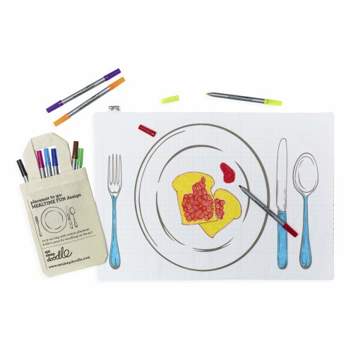 kids double-sided travel 'placemat to go' to draw on, colour & personalise, wash-out pens included