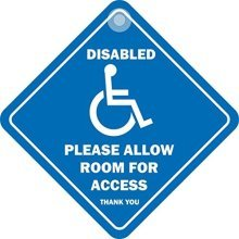 Disabled Please Allow Room - Sign Diamond Window Access Suction Cup Dh63 Car -  disabled allow room sign please diamond window access suction cup