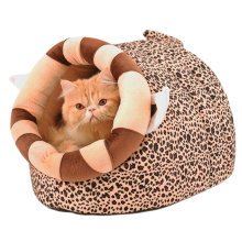 Skin Soft and Warm Pet House Dog Cat Pet Bed Puppy sofa, Leopard 46*34*30CM