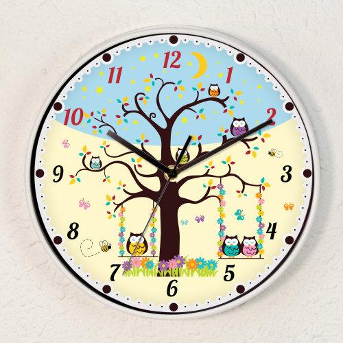 Boys or Girls Room Kids Sleepy Owls Children Wall Clock