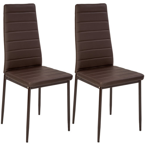 Fine 2 Dining Chairs Synthetic Leather Brown Gmtry Best Dining Table And Chair Ideas Images Gmtryco