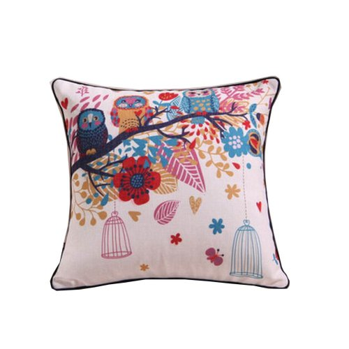 Cute Throw Pillow Cover Embroidered Cotton Linen Cushion Case, Owls and Tree