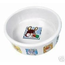 Trixie Ceramic Bowl With Motif For Rabbits, 240 Ml, White - Rabbit 240ml -  ceramic bowl trixie rabbit 240ml motif
