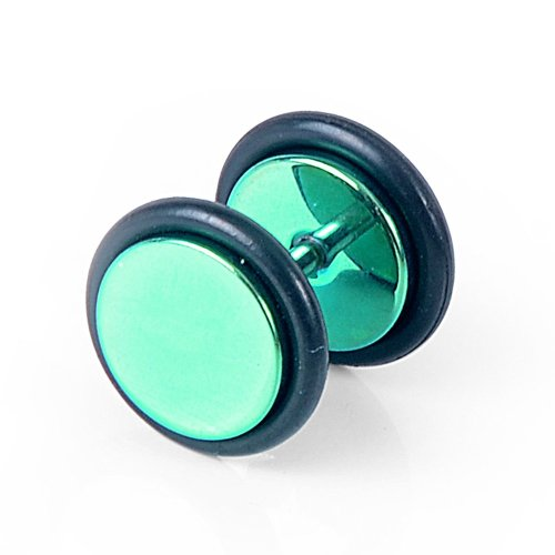 Urban Male 10mm Blue-Green Plated Stainless Steel Fake Ear Expander Plug Stud Earring