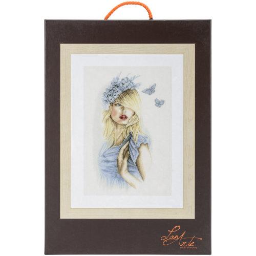 "LanArte Blue Butterflies On Linen Counted Cross Stitch Kit-11.75""X18"" 30 Count"