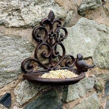 Natures Market Traditional Cast Iron Wall Mounted Bird Bath and Feeder Garden