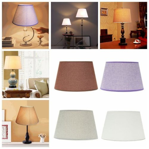 265x355x215MM Cotton Textured Fabric PVC Linen Shade Desk Ceiling Lampshade