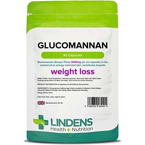 Lindens Glucomannan (Konjac Fibre) 500mg Capsules | 90 Pack | Weight loss aid, contributing towards the reduction of appetite that is Lindens #1...